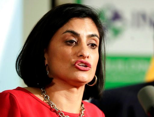 (AP Photo/Julio Cortez, File). FILE - In this Nov. 29, 2017 file photo, Seema Verma, administrator of the Centers for Medicare and Medicaid Services, speaks during a news conference in Newark, N.J. A federal judge has slowed the Trump administration's ...