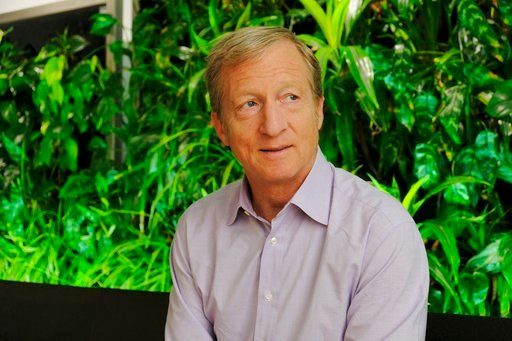 (AP Photo/Eric Risberg). In this photo taken Wednesday, June 27, 2018, environmental activist & billionaire Tom Steyer poses at his offices in San Francisco. Arizona's largest utility is fiercely opposing a push to mandate increased use of renewabl...
