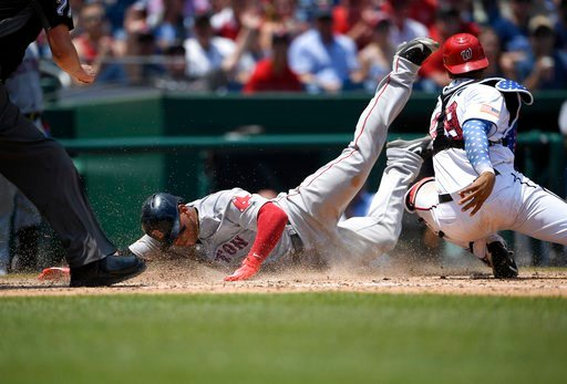 (AP Photo/Nick Wass). Boston Red Sox' Rafael Devers, left, slides home past Washington Nationals catcher Pedro Severino to score on a sacrifice fly by Jackie Bradley Jr., during the seventh inning of a baseball game Wednesday, July 4, 2018, in Washingt...