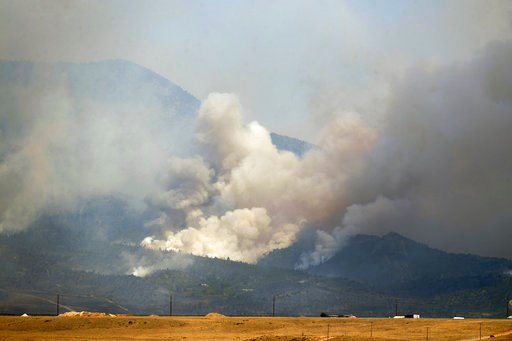 (Helen H. Richardson/The Denver Post via AP). The Spring Creek Fire continues to burn in Costilla County on Tuesday, July 3, 2018 in La Veta, Colo. More than 100 homes in the Colorado mountains were destroyed by a growing wildfire, while hundreds of ot...