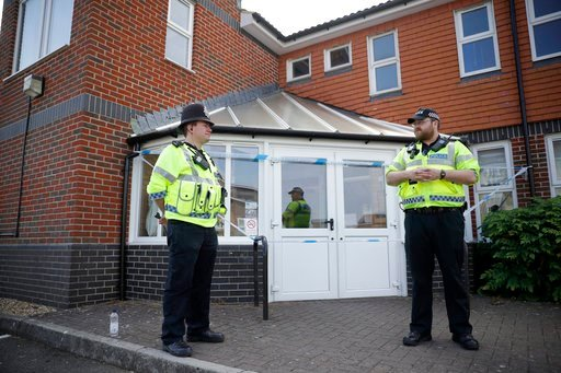 (AP Photo/Matt Dunham). British police officers guards a cordon outside the Amesbury Baptist Centre church in Amesbury, England, Wednesday, July 4, 2018.