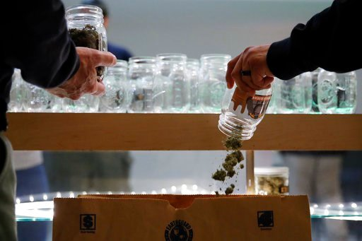 (AP Photo/Jae C. Hong). In this March 15, 2018 photo, two undercover Los Angeles County sheriff's deputies dump marijuana into an evidence bag during a raid at an illegal marijuana dispensary during a raid in Compton, Calif. The number of outlaw dispen...