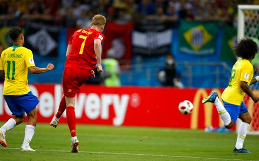 (AP Photo/Francisco Seco). Belgium's Kevin De Bruyne scores his side's second goal during the quarterfinal match between Brazil and Belgium at the 2018 soccer World Cup in the Kazan Arena, in Kazan, Russia, Friday, July 6, 2018.