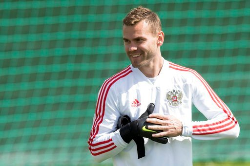 (AP Photo/Pavel Golovkin). Russia's goalkeeper Igor Akinfeev attends a training session at the 2018 soccer World Cup, at the Federal Sports Centre Novogorsk, near Moscow, Russia, Thursday, July 5, 2018.