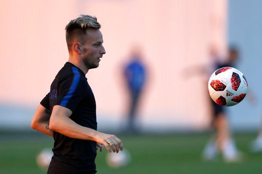 (AP Photo/Manu Fernandez). Croatia's Ivan Rakitic takes part during Croatia official training at the 2018 soccer World Cup at Park Arena in Sochi, Russia, Friday, July 6, 2018 on the eve of the quarter-final match between Russia and Croatia at the 2018...
