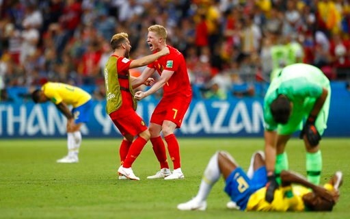 (AP Photo/Matthias Schrader). Belgium's Kevin De Bruyne (7) celebrates after the final whistle as Belgium defeat Brazil in their quarterfinal match between Brazil and Belgium at the 2018 soccer World Cup in the Kazan Arena, in Kazan, Russia, Friday, Ju...