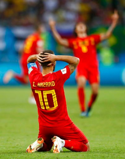 (AP Photo/Matthias Schrader). Belgium's Eden Hazard reacts at the end of the quarterfinal match between Brazil and Belgium at the 2018 soccer World Cup in the Kazan Arena, in Kazan, Russia, Friday, July 6, 2018. belgium won the game 2-1.