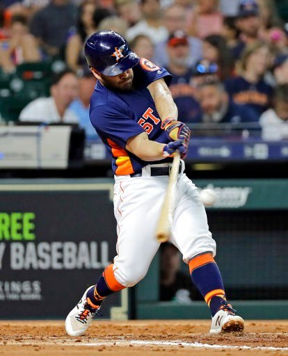 (AP Photo/David J. Phillip). Houston Astros' Jose Altuve hits a home run against the Chicago White Sox during the fourth inning of a baseball game Sunday, July 8, 2018, in Houston.
