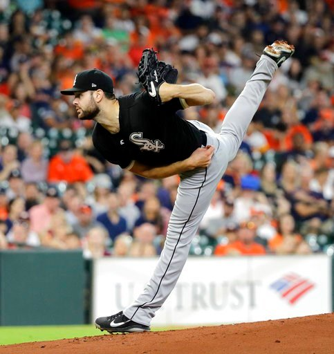 (AP Photo/David J. Phillip). Chicago White Sox starting pitcher Lucas Giolito throws against the Houston Astros during the first inning of a baseball game Sunday, July 8, 2018, in Houston.