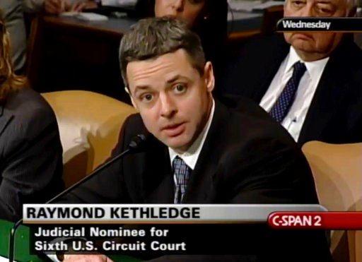 (C-SPAN via AP). In this May 7, 2008, image from video provided by C-SPAN, Raymond Kethledge testifies during his confirmation hearing for the Sixth U.S. Circuit Court on Capitol Hill in Washington. President Donald Trump is closing in on his next Supr...
