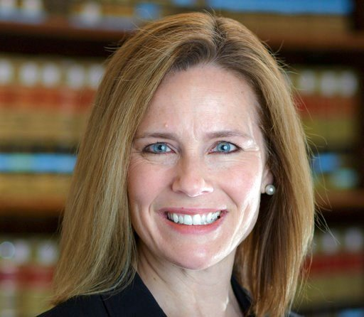 (University of Notre Dame Law School via AP). This 2017 photo provided by the University of Notre Dame Law School in South Bend, Ind., shows Judge Amy Coney Barrett. Barrett is on President Donald Trump's list of potential Supreme Court Justice candida...
