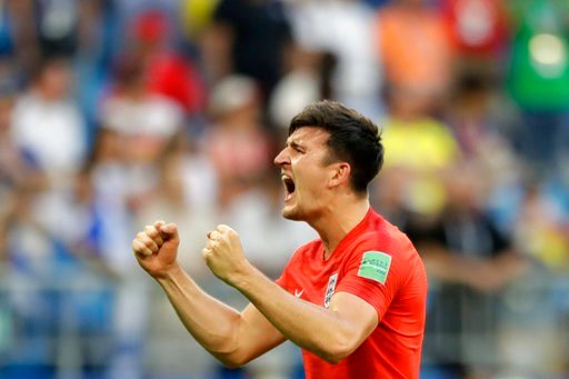 (AP Photo/Matthias Schrader ). England's Harry Maguire celebrates victory of his team over Sweden at the end of the quarterfinal match between Sweden and England at the 2018 soccer World Cup in the Samara Arena, in Samara, Russia, Saturday, July 7, 2018.