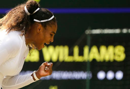 (AP Photo/Tim Ireland). Serena Williams of the United States celebrates winning a point during her women's singles match against Russia's Evgeniya Rodina, on day seven of the Wimbledon Tennis Championships, in London, Monday July 9, 2018.