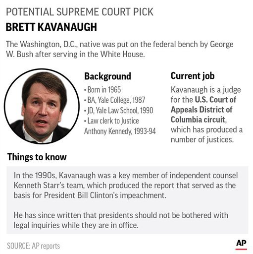 Graphic profiles potential Supreme Court pick Brett Kavanaugh