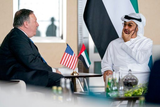 (AP Photo/Andrew Harnik, Pool). U.S. Secretary of State Mike Pompeo, left, and Abu Dhabi's Crown Prince Sheikh Mohammed bin Zayed Al Nahyan meet at the Al Shati Palace in Abu Dhabi?, United Arab Emirates, Tuesday, July 10, 2018. Pompeo is on a trip tra...