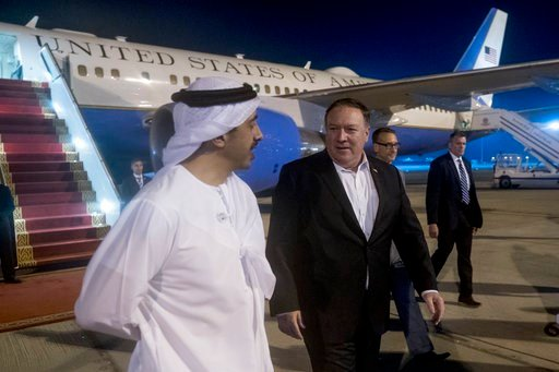 (AP Photo/Andrew Harnik, Pool). Secretary of State Mike Pompeo, center, is greeted by United Arab Emirates Foreign Minister Sheikh Abdullah bin Zayed Al Nahyan, left, as he arrives at Abu Dhabi International Airport in Abu Dhabi?, United Arab Emirates,...