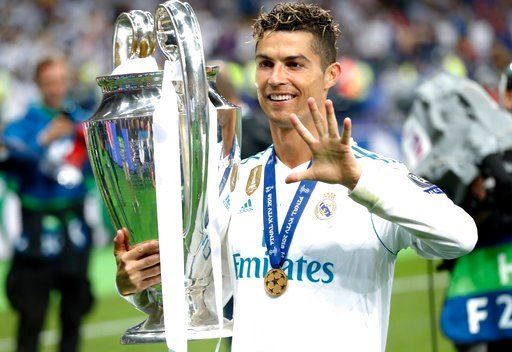 (AP Photo/Pavel Golovkin). FILE - In this Saturday, May 26, 2018 file photo Real Madrid's Cristiano Ronaldo celebrates with the trophy after winning the Champions League Final soccer match between Real Madrid and Liverpool at the Olimpiyskiy Stadium in...