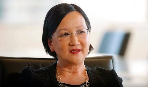 (National Asian Pacific American Bar Association/NAPABA via AP). In this March 1, 2018 image taken from video provided by the National Asian Pacific American Bar Association, U.S. District Judge Dolly Gee speaks in Los Angeles. The Trump administration...