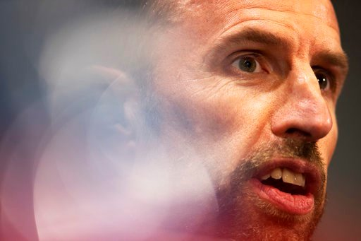 (AP Photo/Francisco Seco). England head coach Gareth Southgate talks to journalists during England's official news conference on the eve of the semifinal match between England and Croatia at the 2018 soccer World Cup in the Luzhniki stadium in Moscow, ...