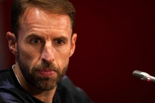 (AP Photo/Francisco Seco). England head coach Gareth Southgate listens to a question during England's official news conference on the eve of the semifinal match between England and Croatia at the 2018 soccer World Cup in the Luzhniki stadium in Moscow,...