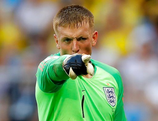 (AP Photo/Francisco Seco). England goalkeeper Jordan Pickford gestures during the quarterfinal match between Sweden and England at the 2018 soccer World Cup in the Samara Arena, in Samara, Russia, Saturday, July 7, 2018.