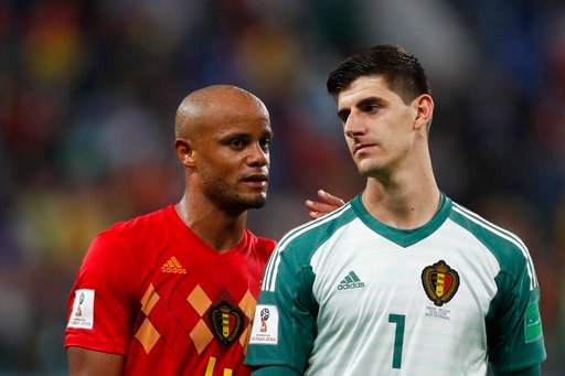 (AP Photo/Frank Augstein). Belgium's Vincent Kompany, left, and Belgium goalkeeper Thibaut Courtois leave the field after the semifinal match between France and Belgium at the 2018 soccer World Cup in the St. Petersburg Stadium in, St. Petersburg, Russ...