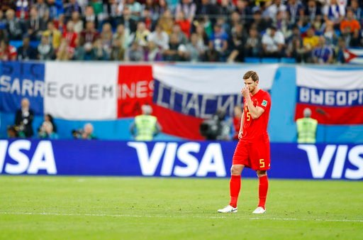 (AP Photo/David Vincent). Belgium's Jan Vertonghen stands during the semifinal match between France and Belgium at the 2018 soccer World Cup in the St. Petersburg Stadium, in St. Petersburg, Russia, Tuesday, July 10, 2018.