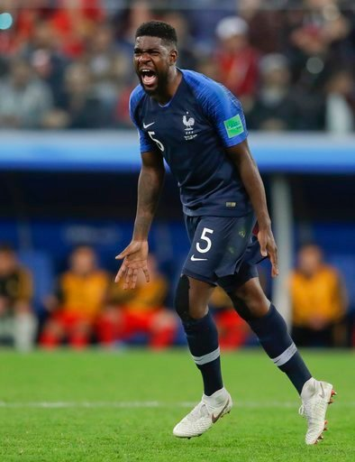 (AP Photo/Petr David Josek). France's Samuel Umtiti celebrates at the end of the semifinal match between France and Belgium at the 2018 soccer World Cup in the St. Petersburg Stadium, in St. Petersburg, Russia, Tuesday, July 10, 2018. France won 1-0.