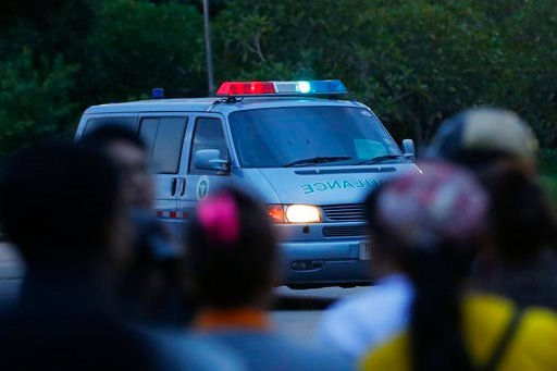 (AP Photo/Vincent Thian). An ambulance believed to be carrying one of the rescued boys from the flooded cave heads to the hospital in Chiang Rai as divers continue to extract the remaining boys and their coach trapped at Tham Luang cave in the Mae Sai ...
