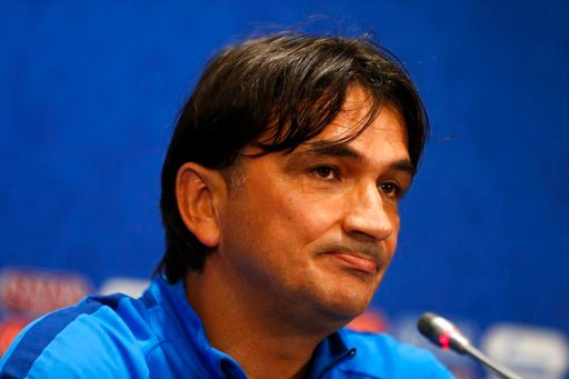 (AP Photo/Rebecca Blackwell). Croatia head coach Zlatko Dalic listens to a question during a press conference at Luzhniki Stadium on the eve of the semifinal match between Croatia and England at the 2018 soccer World Cup in Moscow, Russia, Tuesday, Jul...