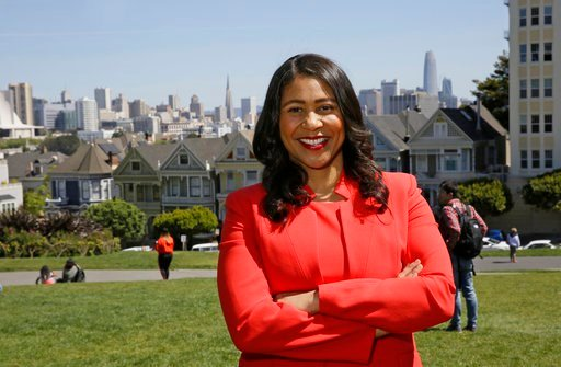 (AP Photo/Eric Risberg, File). In this file photo taken April 13, 2018, then San Francisco mayoral candidate and Board of Supervisors President London Breed poses for a photo at Alamo Square in San Francisco.