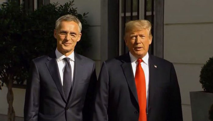 President Donald Trump attended a bilateral working breakfast with NATO Secretary General Jens Stoltenberg on Wednesday, June 11, 2018. (Source: CNN/Pool/NATO)
