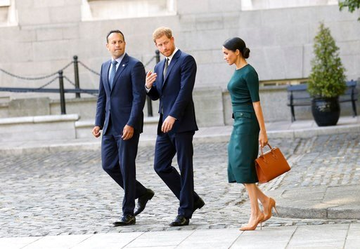 (AP Photo/Peter Morrison). Britain's Prince Harry and Meghan Duchess of Sussex arrive to meet with the Irish Prime Minister Leo Varadkar, left, at government buildings in Dublin, Ireland, Tuesday, July 10, 2018. The Royal couple arrived in the Irish ca...