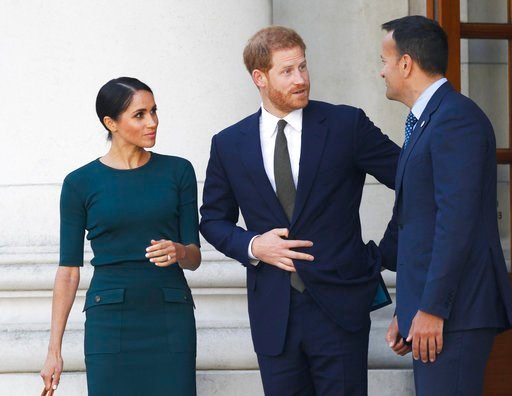 (AP Photo/Peter Morrison). Britain's Prince Harry and Meghan Duchess of Sussex arrive to meet with the Irish Prime Minister Leo Varadkar, right, at government buildings in Dublin, Ireland, Tuesday, July 10, 2018. The Royal couple arrived in the Irish c...