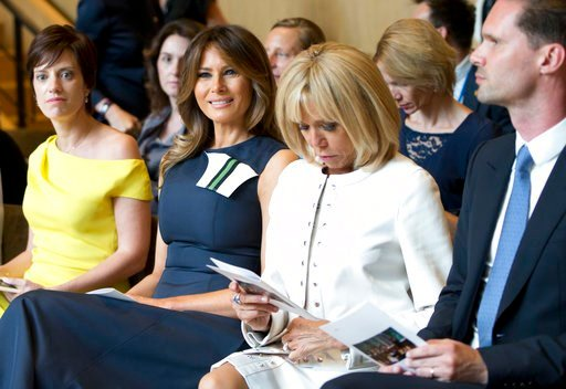 (AP Photo/Virginia Mayo). U.S. first lady Melania Trump, second left, prepares to listen to a concert at the Queen Elisabeth Music Chapel in Waterloo, Belgium, during a spouses program on the sidelines of the NATO summit on Wednesday, July 11, 2018. Fr...