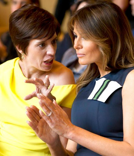 (AP Photo/Virginia Mayo). Amelie Derbaudrenghien, the partner of Belgian Prime Minister Charles Michel, left, speaks with U.S. first lady Melania Trump during a concert at the Queen Elisabeth Music Chapel in Waterloo, Belgium, during a spouses program ...