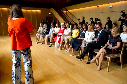 (AP Photo/Virginia Mayo). U.S. first lady Melania Trump, center, listens to a concert at the Queen Elisabeth Music Chapel in Waterloo, Belgium, during a spouses program on the sidelines of the NATO summit on Wednesday, July 11, 2018.