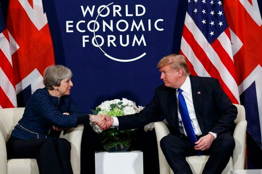 (AP Photo/Evan Vucci, File). FILE - In this file photo from Jan. 25, 2018, President Donald Trump meets with British Prime Minister Theresa May at the World Economic Forum in Davos, Switzerland. Trump will get the red carpet treatment on his brief visi...