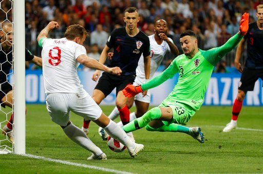 (AP Photo/Frank Augstein). England's Harry Kane plays the ball against the goal post during the semifinal match between Croatia and England at the 2018 soccer World Cup in the Luzhniki Stadium in Moscow, Russia, Wednesday, July 11, 2018.
