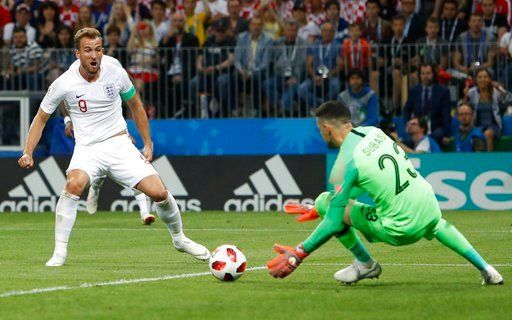 (AP Photo/Alastair Grant). England's Harry Kane, left, plays the ball against the goal post during the semifinal match between Croatia and England at the 2018 soccer World Cup in the Luzhniki Stadium in Moscow, Russia, Wednesday, July 11, 2018.