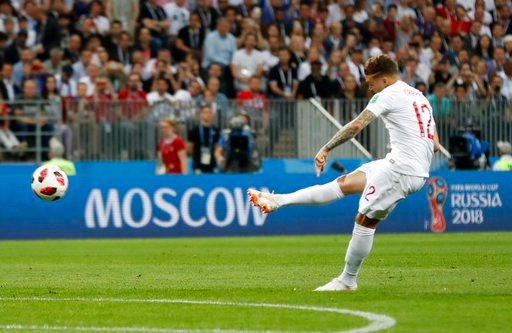 (AP Photo/Frank Augstein). England's Kieran Trippier scores the opening goal during the semifinal match between Croatia and England at the 2018 soccer World Cup in the Luzhniki Stadium in Moscow, Russia, Wednesday, July 11, 2018.