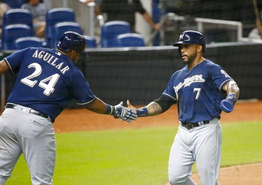 (AP Photo/Wilfredo Lee). Milwaukee Brewers' Jesus Aguilar (24) congratulates Eric Thames (7) after Thames scored on a single by Christian Yelich during the third inning of a baseball game against the Miami Marlins, Wednesday, July 11, 2018, in Miami.