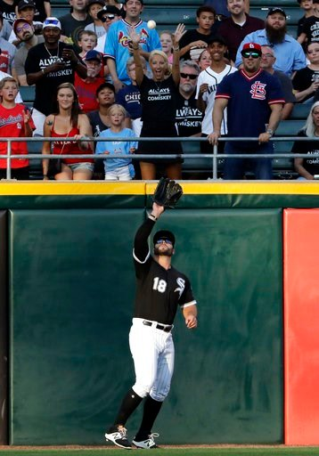(AP Photo/Nam Y. Huh). Chicago White Sox left fielder Daniel Palka catches a fly ball hit by St. Louis Cardinals' Matt Carpenter during the first inning of a baseball game in Chicago, Wednesday, July 11, 2018.