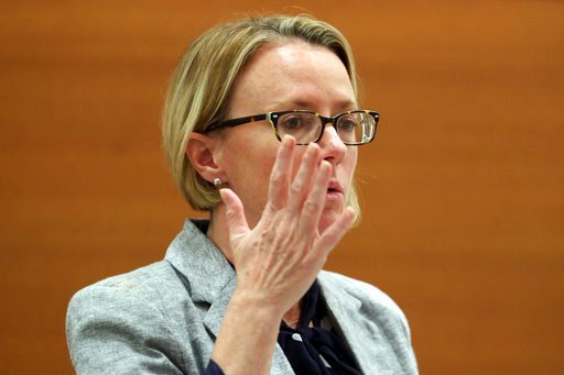 (Amy Beth Bennett/South Florida Sun-Sentinel via AP, Pool). Public defender Melisa McNeill presents her arguments during a hearing at the Broward County Courthouse Wednesday, July 11, 2018, in Fort Lauderdale, Fla., to determine whether a report about ...