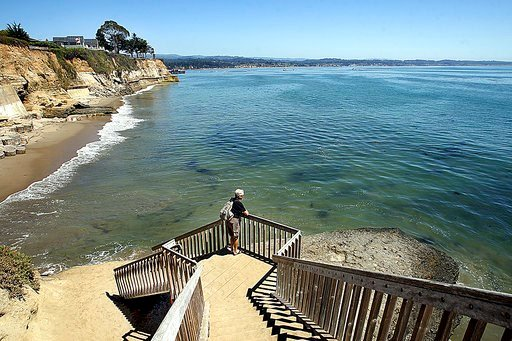 (Dan Coyro/Santa Cruz Sentinel via AP). This Aug. 31, 2016, photo shows a staircase from Opal Cliffs Park that leads to Opal Cliffs Neighborhood Beach, more commonly known as Privates, in the Live Oak neighborhood of an unincorporated part of Santa Cru...