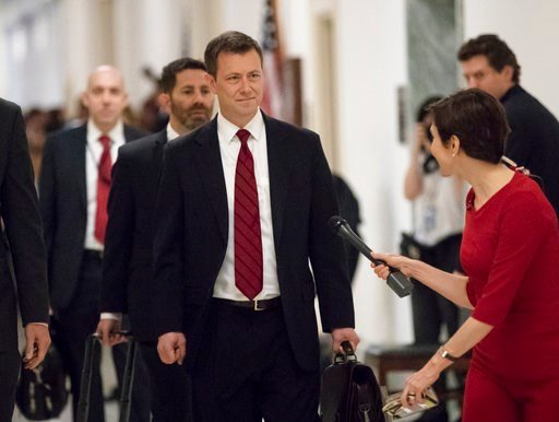 (AP Photo/J. Scott Applewhite, File). FILE - In this June 27, 2018, file photo, Peter Strzok, the FBI agent facing criticism following a series of anti-Trump text messages, walks to gives a deposition before the House Judiciary Committee on Capitol Hil...