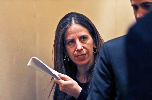 (AP Photo/Kamran Jebreili). Sigal P. Mandelker, the undersecretary for terrorism and financial intelligence at the U.S. Treasury, talks to a journalist at a press briefing in Dubai, United Arab Emirates, Thursday, July 12, 2018. A top U.S. official foc...