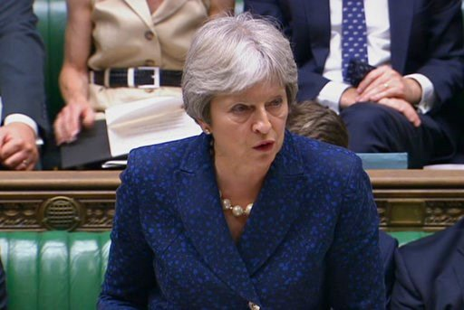 (Parliamentary Recording Unit via AP). In this image from TV, Britain's Prime Minister Theresa May gives statement in the parliament Monday July 9, 2018. British Foreign Secretary Boris Johnson resigned Monday, adding to divisions over Brexit that thre...