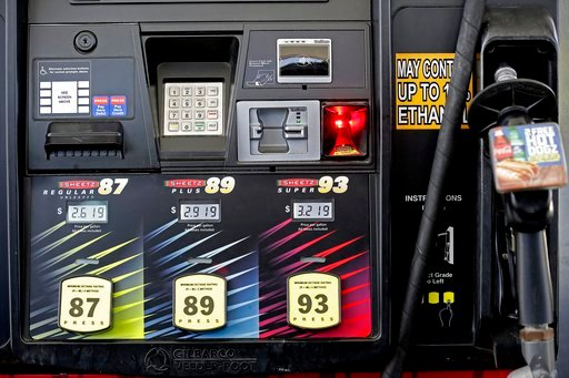 (AP Photo/Gerry Broome, File). FILE- In this June 14, 2018, file photo gasoline prices are displayed on a pump at Sheetz along the Interstate 85 and 40 corridor near Burlington, N.C. On Thursday, July 12, the Labor Department reports on U.S. consumer p...