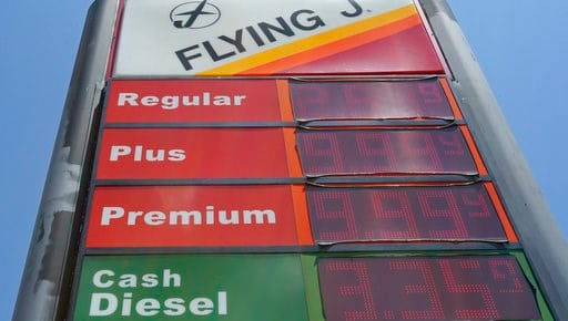 (AP Photo/Gerry Broome, File). FILE- This June 14, 2018, file photo shows signage and gas prices for regular and diesel at Flying J along Interstate 85 and 40 near Graham, N.C. On Thursday, July 12, the Labor Department reports on U.S. consumer prices ...